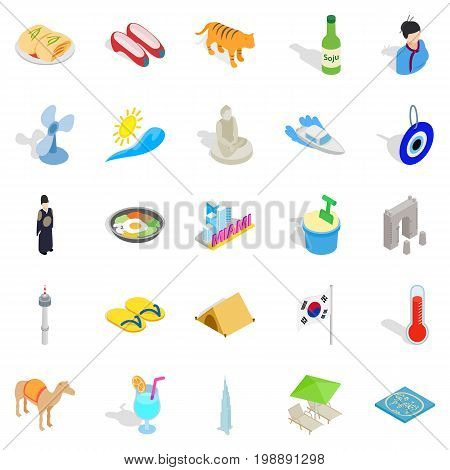 Hospice icons set. Isometric set of 25 hospice vector icons for web isolated on white background