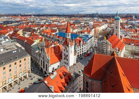 Aerial view of Old Town Hall in Munich, Bavaria, Germany