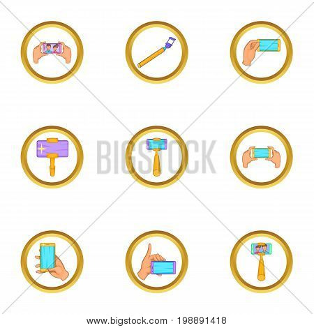 Selfie icons set. Cartoon set of 9 selfie vector icons for web isolated on white background