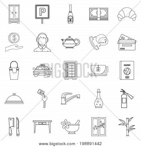 Public icons set. Outline set of 25 public vector icons for web isolated on white background