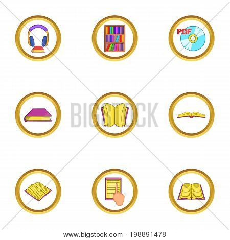 Audiobook icons set. Cartoon set of 9 audiobook vector icons for web isolated on white background