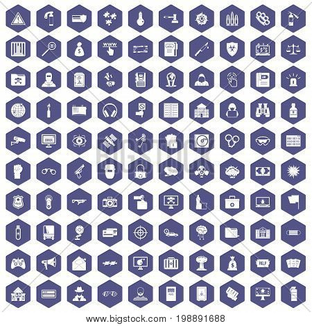 100 hacking icons set in purple hexagon isolated vector illustration