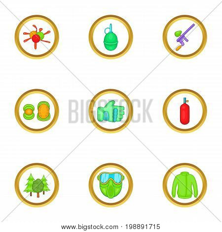 Paintball game icons set. Cartoon set of 9 paintball game vector icons for web isolated on white background