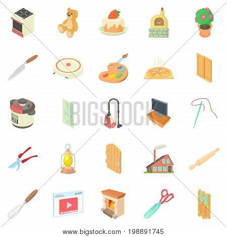 Home worker icons set. Cartoon set of 25 home worker vector icons for web isolated on white background