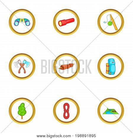 Camping things icons set. Cartoon set of 9 camping things vector icons for web isolated on white background