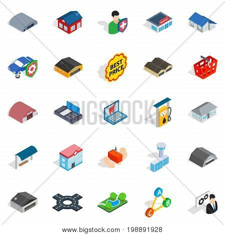 Homely icons set. Isometric set of 25 homely vector icons for web isolated on white background