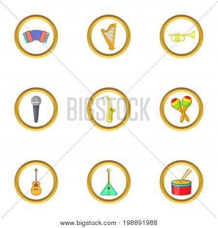 Music instrument icons set. Cartoon set of 9 music instrument vector icons for web isolated on white background