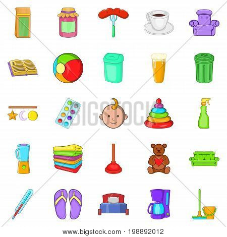 Home economics icons set. Cartoon set of 25 home economics vector icons for web isolated on white background