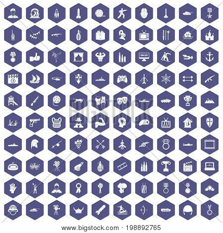 100 hero icons set in purple hexagon isolated vector illustration