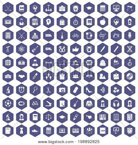100 hi-school icons set in purple hexagon isolated vector illustration