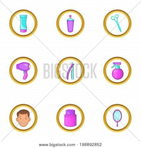 Barber shop equipment icons set. Cartoon set of 9 barber shop equipment vector icons for web isolated on white background