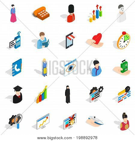 Individual icons set. Isometric set of 25 individual vector icons for web isolated on white background