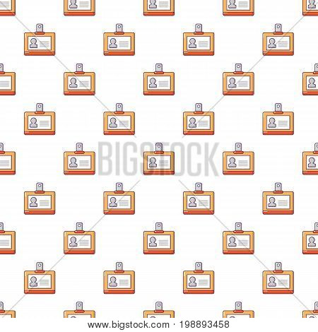 Identification badge pattern in cartoon style. Seamless pattern vector illustration