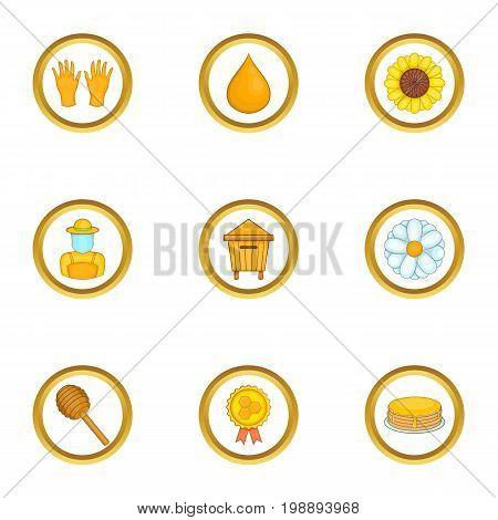 Honey production icons set. Cartoon set of 9 honey production vector icons for web isolated on white background