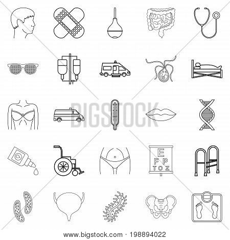 Treatment icons set. Outline set of 25 treatment vector icons for web isolated on white background