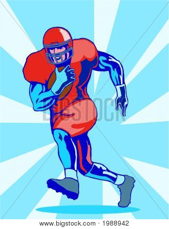 Footballer About To Score A Touchdown