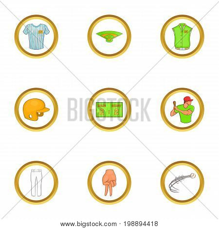 Soccer tournament icons set. Cartoon set of 9 soccer tournament vector icons for web isolated on white background