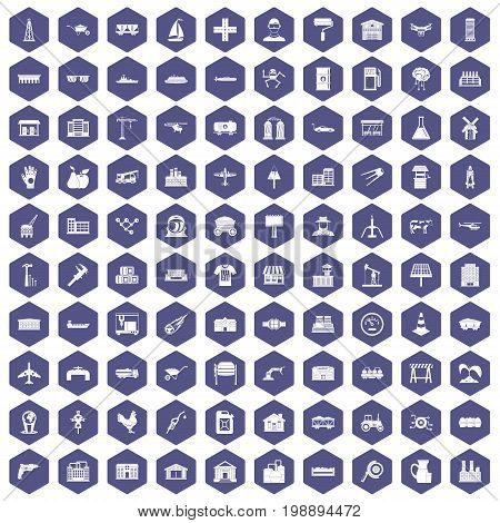 100 industry icons set in purple hexagon isolated vector illustration