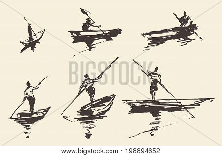 Man in the boat, hand drawn vector illustration, sketch