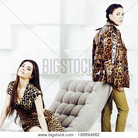 pretty stylish woman in fashion dress with leopard print together in luxury rich room interior, lifestyle people concept, modern brunette together close up