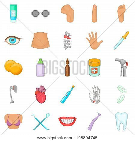 Human health icons set. Cartoon set of 25 human health vector icons for web isolated on white background