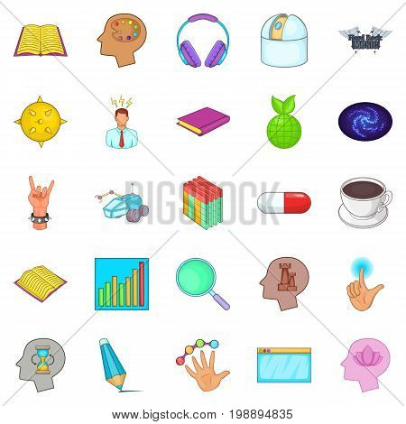 Human mind icons set. Cartoon set of 25 human mind vector icons for web isolated on white background