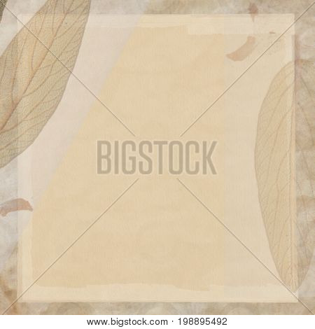 Background sepia true leaves  canvas material handmade