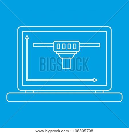 Laptop with 3D design icon blue outline style isolated vector illustration. Thin line sign