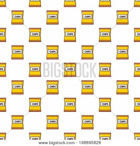 Yellow pouch of potato chips pattern in cartoon style. Seamless pattern vector illustration