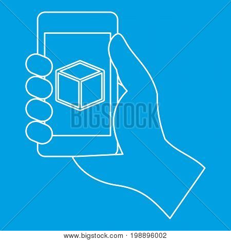 Smartphone with 3D model icon blue outline style isolated vector illustration. Thin line sign