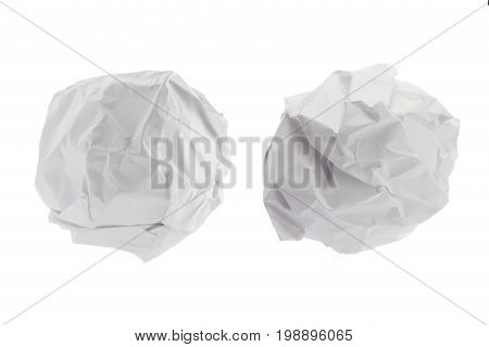 Crumpled paper ball on isolated on white background.