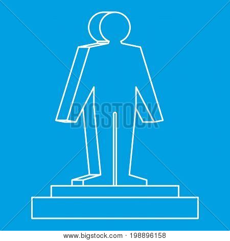 3d model of a man icon blue outline style isolated vector illustration. Thin line sign