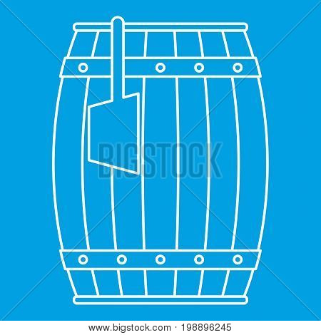 Wooden barrel with ladle icon blue outline style isolated vector illustration. Thin line sign