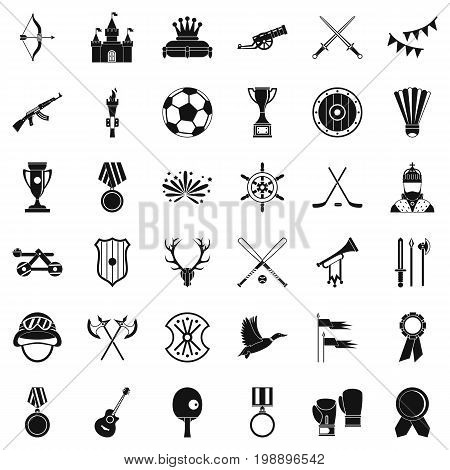 Medal icons set. Simple style of 36 medal vector icons for web isolated on white background
