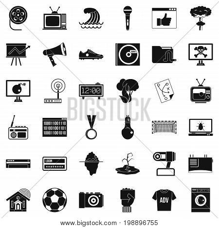 Television icons set. Simple style of 36 television vector icons for web isolated on white background