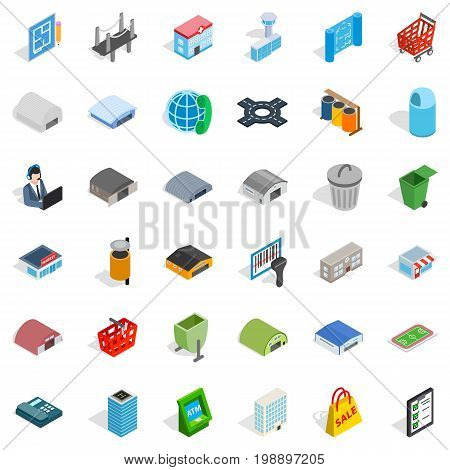 Town icons set. Isometric style of 36 town vector icons for web isolated on white background