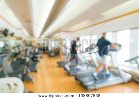 Abstract blurred background: fitness center gym club