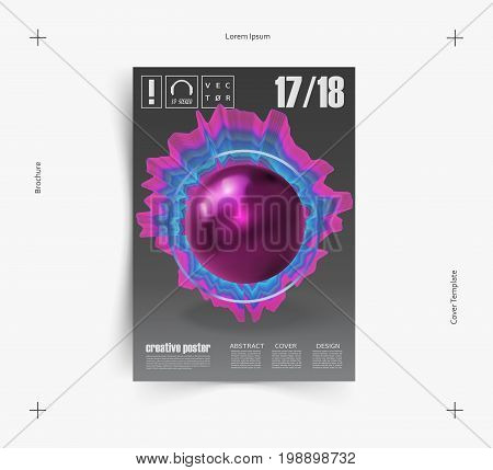 Electronic music fest and electro summer wave poster. Club party flyer. Abstract waves music background. Vector. poster