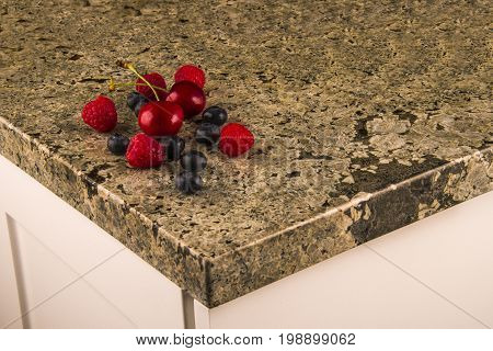 Counter. Counter top of Granite. Kitchen granite counter top. Various colorful fruits on kitchen granite counter top. Counter concept.