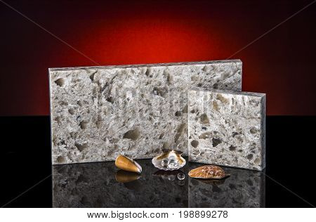 Kitchen. Granite counter top.Samples of granite countertops. Countertops of natural stone granite. Counter top on black surface.