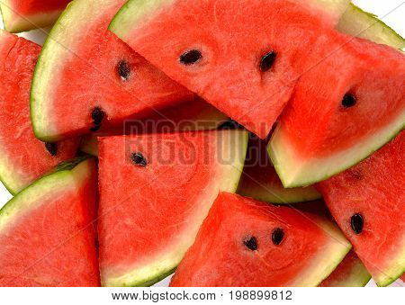 Fresh water melon slices as a background