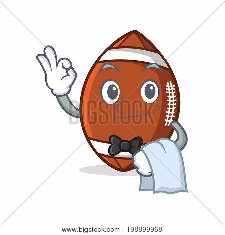 Waiter American football character cartoon vector illustration