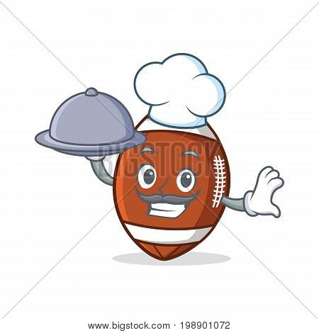 Chef with food American football character cartoon vector art