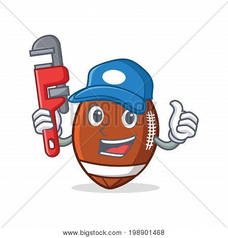 Plumber American football character cartoon vector art