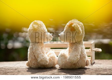Lovely kiss teddy bear on wood and wooden box Concept of love and tenderness. With lens flare Natural background