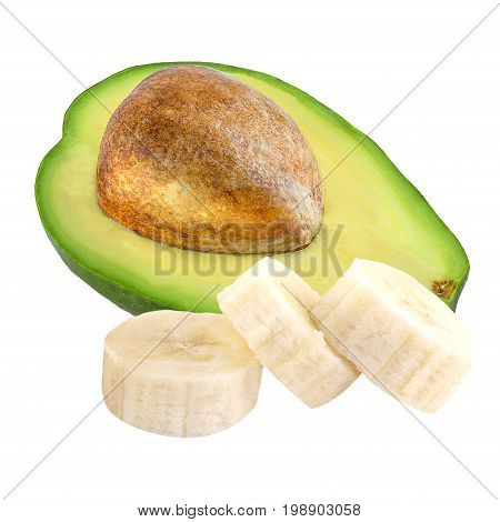 Isolated fruits. Avocado and sliced banana isolated on white background ias package design element.
