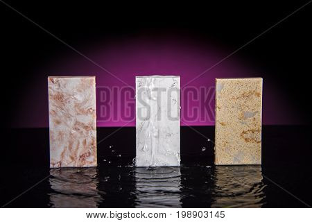 Marble. Marble Countertops. Three marble sample. Marble counter top. Countertop color stones made of marble.