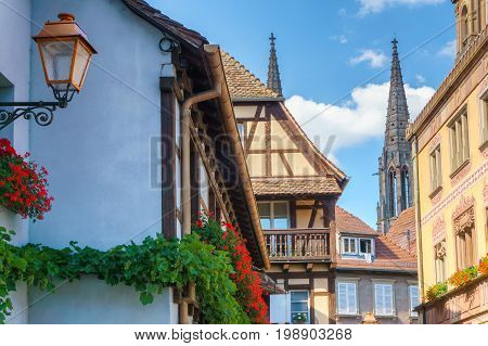 Townhall on the central place of Obernai city - Alsace France