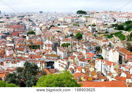 Tile rooftops of Lisboa city panoramic view background