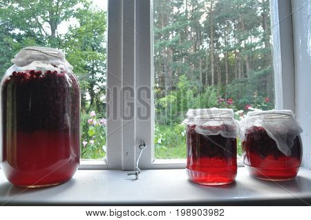 Jar jars of jam with red currants standing on the windowsill in the farmhouse. View of the garden.